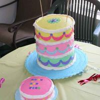 Ellas_Cake.jpg first time building a 3 tier cake. Whipped BC w/ MMF accents. This is from the 2007 Wilton Yearbook