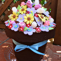 Flower Pot This is a chocolate fudge/Vanilla cake, with raspberry filling, the pot is covered with chocolate ganache, flowers are all fondant.