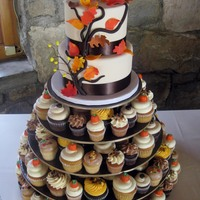 "2 Tier Autumn Cutting Cake & Assorted Cupcakes Cake design inspired by Pink Cake Box6"" & 8"" rounds with assorted regular and mini cupcakes."