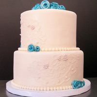 Ivory & Turquoise 2 Tier Brushed embroidery to match bride's veil