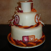 Ut / Ou House Divided Twin's graduation, one going to UT and the other to OU. MFF with MFF/GP decoration