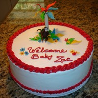 Tropical Baby Shower BC cake with mff/gp decoration. It was made to match the ivnitation, happy looking party!