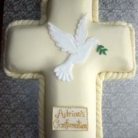 Confirmation Cross Cake With Royal Icing Dove Topper