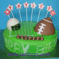 Football Cake choc cake with choc genashe.the football is RCT all decorations are MMFthe helmet has a number 7 on the back (the child's age) the...