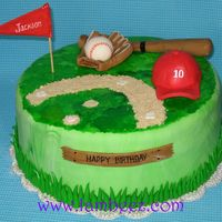 Baseball Cake Vanilla cake with choc chips and vanilla frosting.All decorations are MMF