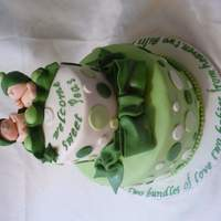 Two Peas In A Pod fondant covered cake, fondant/ gumpaste babies and bow