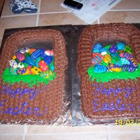 Easter Basket Cakes Two Easter baskets cakes for work. White cake covered by chocolate buttercream icing. Eggs are Reese Peanut Butter eggs coverd with thin...