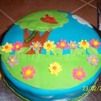 "Spring 3-8"" layers with cream cheese filling and buttercream icing. Then covered with fondant and fondant accents."