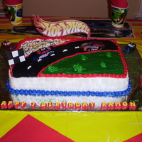 I Made This Cake For My Son :) He Loves Hotwheels