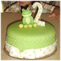 Frog Cake Made this cake for my nephew who was turning 2 and LOVES frogs. I think it turned out pretty cute. Had to put a wooden skewer behind the...