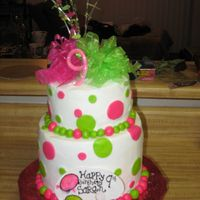 Sarah's 9Th Art Party!!!  White Cake with BC. She wanted hot pink and lime green dots all over the cake. She was so happy with her cake so that made me happy! Theme...