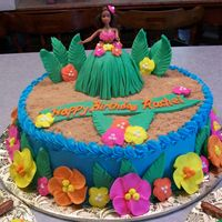 "Luau Birthday Party I covered the cake with buttercream icing. All the flowers are royal icing. The ""grass"" skirt and palm leaves are fondant. The &..."