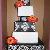 "Square Demask  4"" 6"" 4"" 8"" 10"" 14"" Squares iced in fondant. 10"" and 6"" tiers were quilted using an impression mat..."