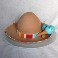 "Sombrero With Maracas   6"" Round cake 6"" tall & sculpted at top. Iced in fondant. Fondant Maracas."