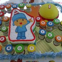 Pocoyo This cake was sooo cute and fun to make. The birthday boy loves Pocoyo, and the mom requested that I wrote a message using cupcakes. She...