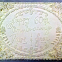 "60Th Anniversay ""all White""   2/3 sheet all white anniversary cake"