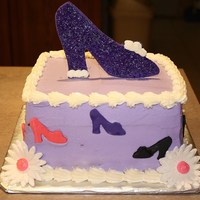 Every Girl Loves Shoes!   Buttercream with fondant shoes and flowers
