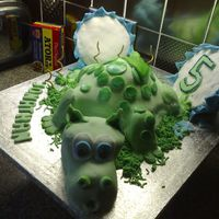 Dragon Cake   Baby dragon hatched out of shell. Chocolate sponge cake covered with soft fondant icing.