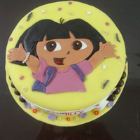 "Dora Cake 8"" choco cake covered in fondant. accents are fondant. all edible."