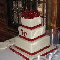 December Wedding Cake this is my second wedding cake....first one covered in fondant.....it's red velvet cake with cream cheese icing filling and MMF...the...