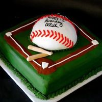 Baseball Cake 10 in vanilla cake with chocolate icing, baseball covered in MMF. Thanks for looking!