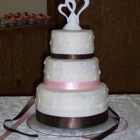 My First Wedding Cake   Double CHoc. cake with choc fudge filling and a peppermint buttercream frosting.....