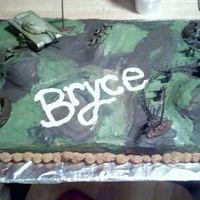 Army Camo Cake  My very first ordered birthday cake. I made this for a 5 yr old and the only thing he really wanted was a Camouflaged Army cake. I had...