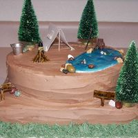 Camping Cake A camping-themed bridal shower cake for my sister-in-law who, along with her fiance, are avid campers and outdoorsmen. They are also...