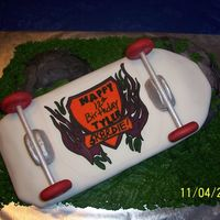 Sk8Rdie Man!!! This was for my son's 12th birthday. I give Krissy Zaenglein 100% thanks for her inspiration and help, as this is my 2nd fondant cake...