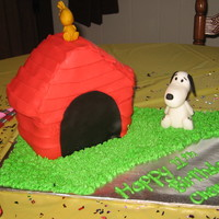 Snoopy Dollhouse cake pan, covered in fondant (ok, shingles were backwards on one side...oops...it was for me anyway)! Snoopy & Woodstock were...