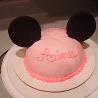 Mouse Ear Cake Small and kinda boring...but still cute? Covered in fondant w/ ears, yep.