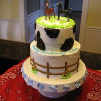 "Horses For my son's 3rd birthday. I had another cake order that morning so his was a ""quicK"" cake. Fortunately, he loved it anyhow..."