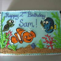 Nemo, Dory And Squirt Buttercream design for a little NEMO fan turning two.