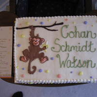 Monkey Baby Shower Cake Made to match the invitations.Carrot Cake with cream cheese icing