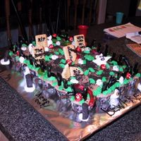 Graveyard Cake Graveyard with tombstones and ghosts, spooky!