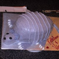 Armadillo Cake Made this cake for a wedding rehearsal dinner. Red Velvet cake with raspberry filling, buttercream icing, mmf feet and ears.