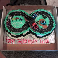 Race Car Track Made this for my son's 7th birthday.