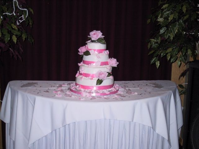 Wedding Cake Pic   buttercream faux fondant look, silk flowers, ribbon.