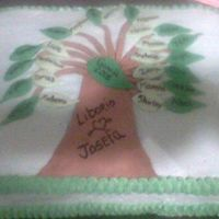 Family Reunion Tree This is a cake that I made for a family reunion. Grandparents names are on the trunk and the dark green leaves are their children's...