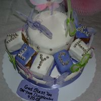 "Butterfly Baptismal Cake I made this cake for a Baptismal. Bottom 10' is carrot cake with cream cheese icing Top 6"" and boxes are Banana Cake with BC..."
