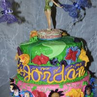 Fairie Land Party This cake was made for an 8 year old birthday party. The theme was tinkerbell/fairies. We spent alot of time making the flower fairies and...