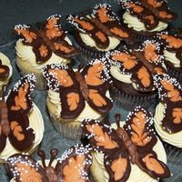 "Chocolate Butterfly Cupcakes Butterflies made following directions in ""Hello Cupcake""."