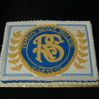 Relief Society Emblem Cake Relief Society Cake for church. The blue circle is mmf and everything else is buttercream.