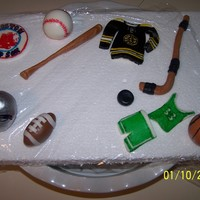 Toppers For Sports Cake all made from fondant
