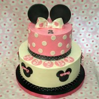 Minnie Mouse This is my version of Cakebakinggals minnie mouse cake.Buttercream with fondant accents.