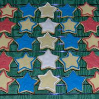 4Th Of July Cookies These are sugar cookies with thinned royal icing. I used the largest star shaped fondant cutter to cut them out. Some are covered in icing...