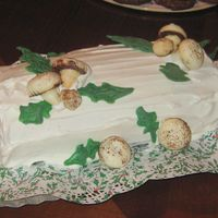 Img_0645.jpg I made this Busch de Noel for Christmas Eve. I made the mushrooms out of merangue and dusted them with cocoa powder. The leaves are made...