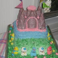 Img_0161_065.jpg My grandchildren and I made this cake for my Easter sweet table. It was fun. Bottom layer was yellow cake, middle layer was strawberry cake...