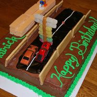 Drag Race Cake Husband's birthday cake, with a Mustang beating the Chevy off the line.Pop tarts for the sidewalls, sugar wafer bleachers, and a...