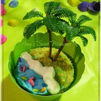 Palm Tree Wasc cupcake with a luau theme covered in buttercream icing and hand made wrapper. Enjoy.